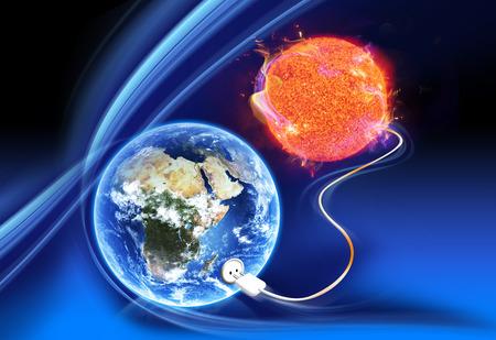 enchufe: concepto de energía solar limpia