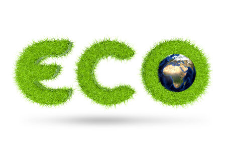 grass texture: 3D eco word with grass texture
