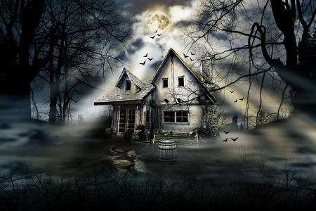haunted house: Haunted house with dark scary horror atmosphere