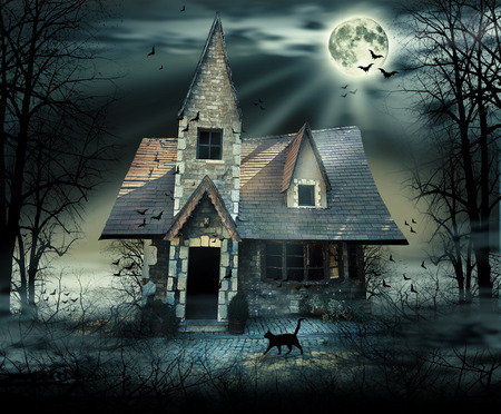 damaged roof: Haunted house with dark scary horror atmosphere
