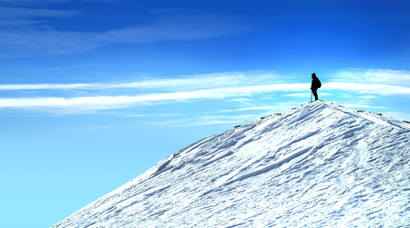alp: Man on top of a mountain and blue sky Stock Photo