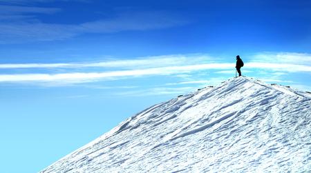 Man op de top van een berg en de blauwe hemel