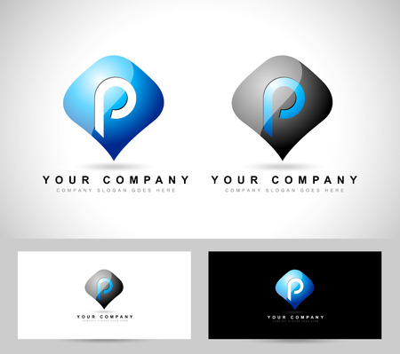 p illustration: Letter p vector. Creative abstract pin with letter p in the middle