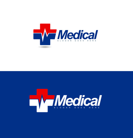 medical heart: Medical design. Hospital concept with medical cross and heart rate symbol.
