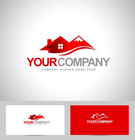 Diseño de la casa. Vector de las propiedades inmobiliarias. Resort chalet de montaña.