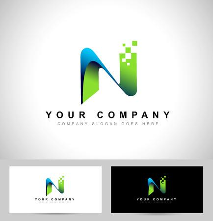 Letter N Design. Creatief schrijven n vector icon met visitekaartje sjabloon. Stock Illustratie