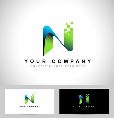 abstract letters: Letter N Design. Creative letter n vector icon with business card template.