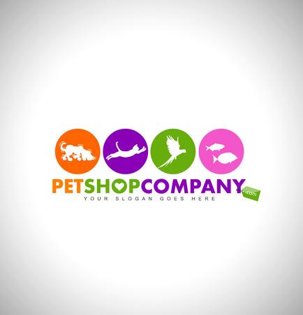 ペット ショップのロゴのデザイン コンセプト。動物アイコン。カラフルなペット ショップ アイコン デザイン。