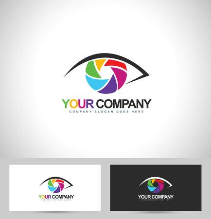 写真写真のデザインします。目写真コンセプト ビジネス カード テンプレート。
