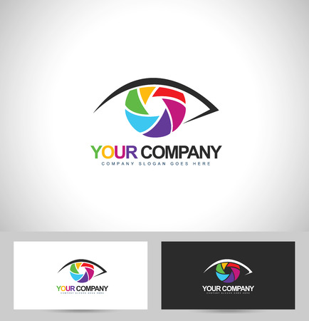 photographer: Photographer  Photography Design. Eye Photography Concept with business card template. Illustration