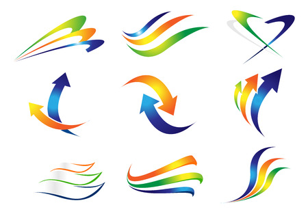 swashes: Swashes and Arrows Design Elements. Colorful vector arrows and curved lines. Illustration