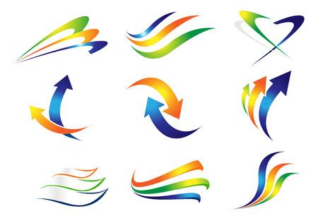 flechas curvas: Swashes y Flechas de elementos de diseño. Vector de las flechas de colores y líneas curvas.