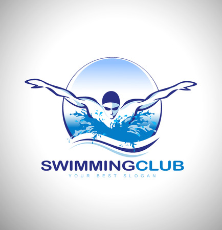 Basen Klub Projekt. Pływak ikona designu. Twórczy Swimmer wektorowa. Ilustracje wektorowe