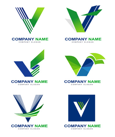 Letter V Design Set. Creative letter v concept with green blue colors.