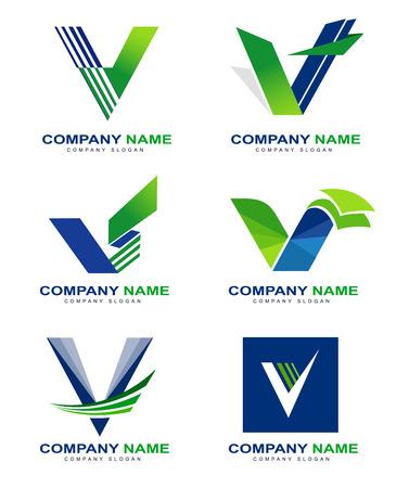 V の文字デザインを設定します。緑の青い色で創造的な手紙 v コンセプト。