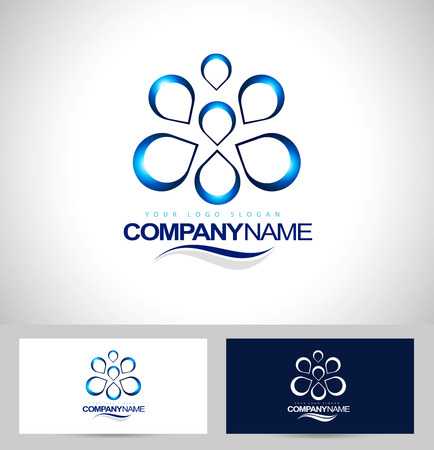 water concept: Water Drops Design. Creative water concept icon. Business card template.