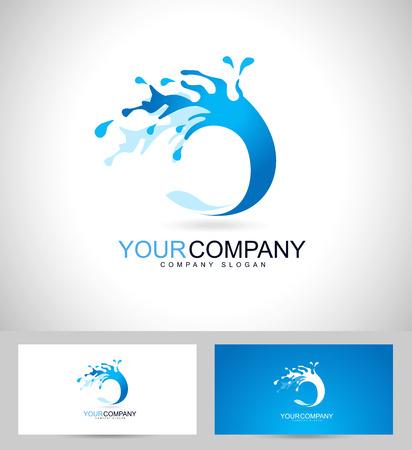 水のデザイン。水スプラッシュ アイコンおよびビジネス カード テンプレートの創造的なベクトル。