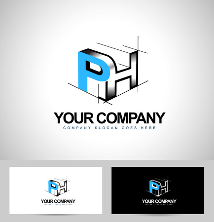 ph: Ph Letters Design. Creative PH Letters Icon with business card template. Illustration