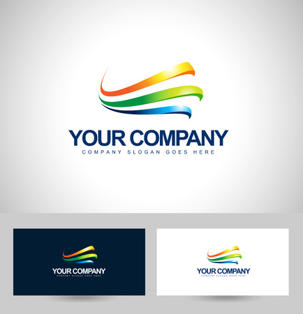 vetor: Business Design. Colorful Swashes Vector. Creative Corporate with business card template.