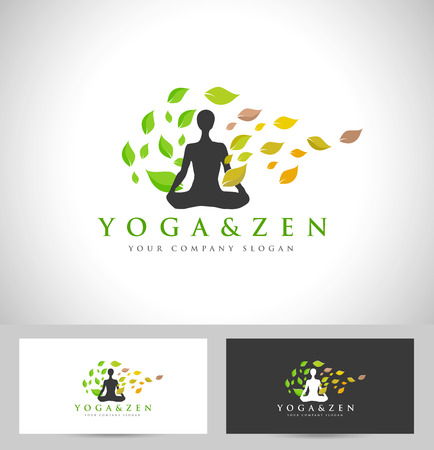 meditation man: Yoga Design. Creative Yoga Icon with Yoga Position