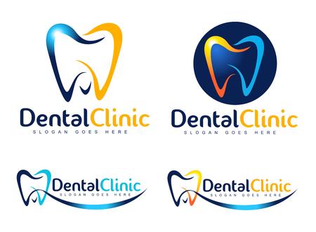 치과 디자인. 치과 의사 아이콘. 치과 크리 에이 티브 회사 벡터.
