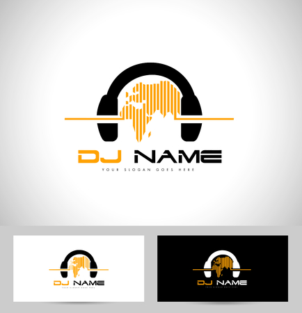 dj music: Dj Design. Creative vector design with headphones and world map.