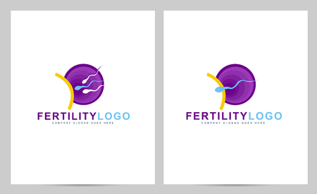 Fertility concept. Creative pregnancy clinic vector with abstract spermatozoon and egg Illustration