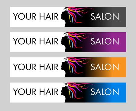 ヘアサロン。女性の頭や髪と創造的なベクトル概念。