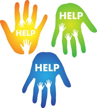 reaching: Helping Hands Concept. Creative vector concept with hands reaching for help. Illustration