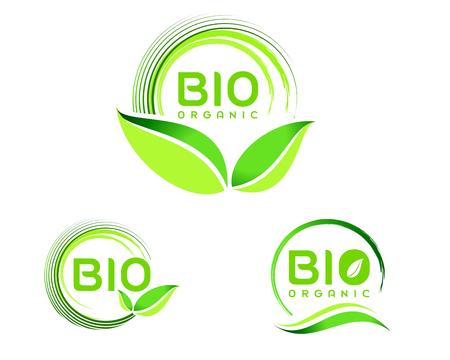 advertising logo: Bio Eco .Eco icon design. Green Bio icon badge vector.