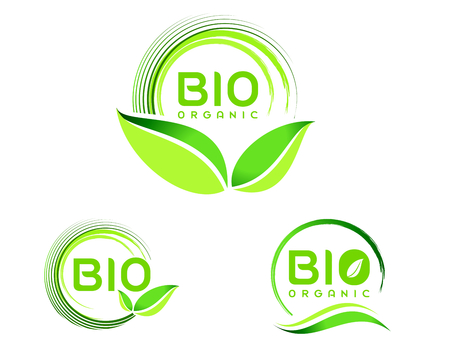 logo de comida: Bio Eco .ECO icono del dise�o. Verde Bio icono insignia del vector. Vectores