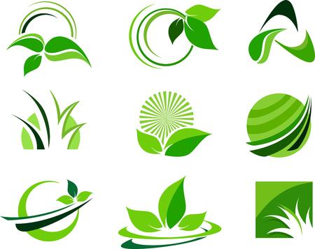 Green Leafs Design Elements. Leaf icon design elements. Vector leaf leafs design.  イラスト・ベクター素材