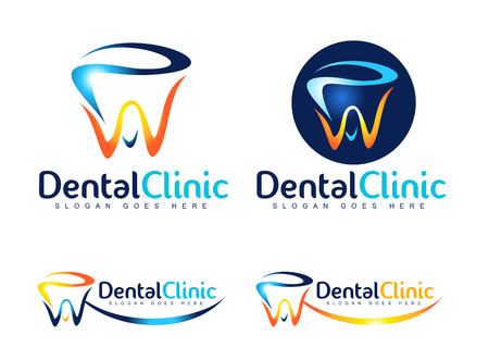 Diseño Logo Dental. Logo dentista. Logo Dental Clinic Creative Company vectorial. Foto de archivo - 44256320