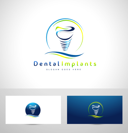 dental: Dental Implant Design. Dentist Logo. Dental Implants Clinic Creative Company Vector Logo.
