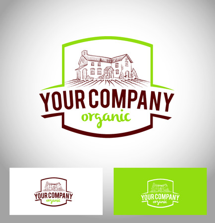 granja: Logotipo de la empresa Granja de Cultivo Icon Icono del vector Granja creativas y tarjeta de visita
