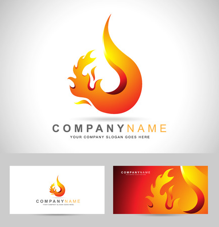 fogatas: Fuego llama Logo. Diseño creativo vector logo con llamas de fuego caliente y tarjeta de visita