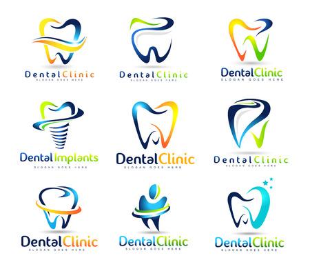 치과 로고 디자인. 치과 의사 로고. 치과 크리 에이 티브 회사 벡터 로고 세트