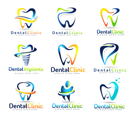 logos empresa: Diseño Logo Dental. Logo dentista. Dental Clinic Creative Company Logo Vector Set Vectores