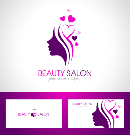 beauty: Weibliches Gesicht der Schönheit Logo Design.Cosmetic Salon-Logo-Design. Kreative Frauengesicht Vector. Hair Salon Logo.