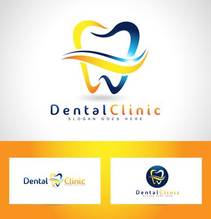 歯科のロゴのデザイン。歯科医のロゴ。歯科診療所クリエイティブ会社ベクトルのロゴ。  イラスト・ベクター素材