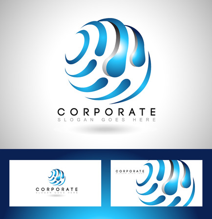 red sphere: Business Corporate Logo. Creative Vector Icon with red sphere and swashes