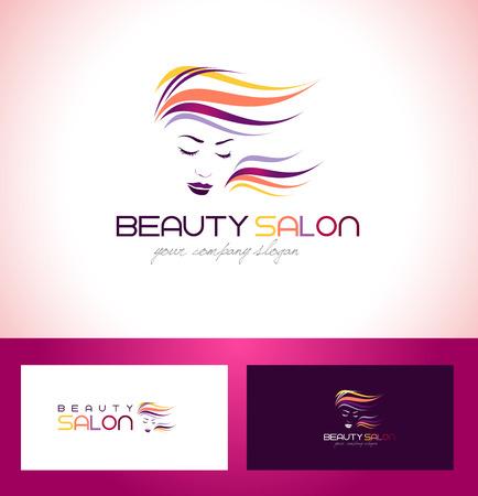 cabello: Belleza femenina cara Logo Design.Cosmetic diseño del logotipo del salón. Mujer creativa Vector Face. Logo Hair Salon. Vectores