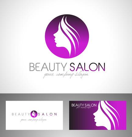 美容女性顔ロゴ Design.Cosmetic サロンのロゴデザイン。創造的な女性の顔のベクトル。髪サロンのロゴ。