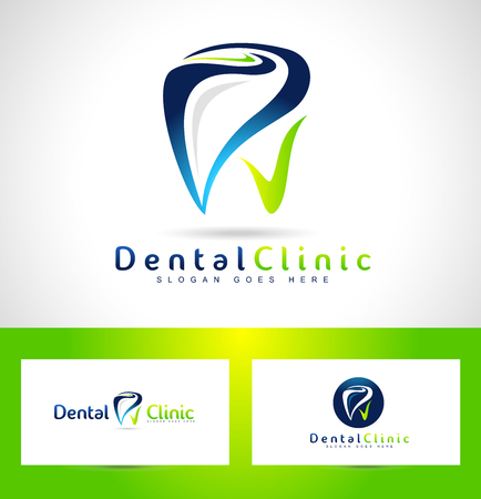 치과 로고 디자인. 치과 의사 로고. 치과 크리 에이 티브 회사 벡터 로고. 일러스트