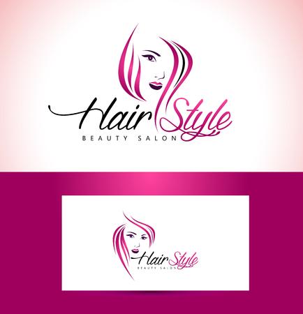 Belleza femenina cara Logo Design.Cosmetic diseño del logotipo del salón. Mujer creativa Vector Face. Logo Hair Salon. Vectores