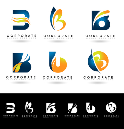 Letter B Logo Designs. Creative abstract vector letter B icons with blue and orange colors.  イラスト・ベクター素材