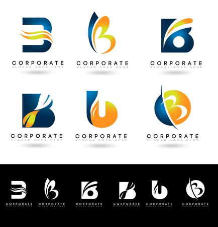 文字 B のロゴデザイン。青とオレンジ色で創造的な抽象的なベクトル B の手紙アイコン。