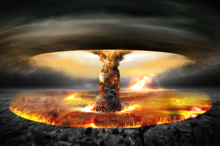 Pericolo di illustrazione guerra nucleare con esplosioni multiple Archivio Fotografico - 46578267