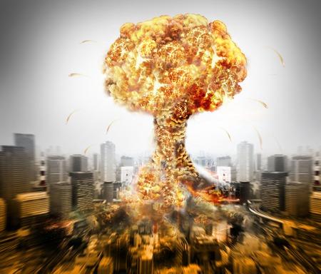 Danger d'nucléaire illustration de la guerre avec de multiples explosions Banque d'images