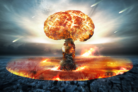 end of the world: Danger of nuclear war illustration with multiple explosions